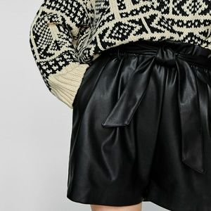 Zara Pleather High Waisted Shorts with Bow Size L